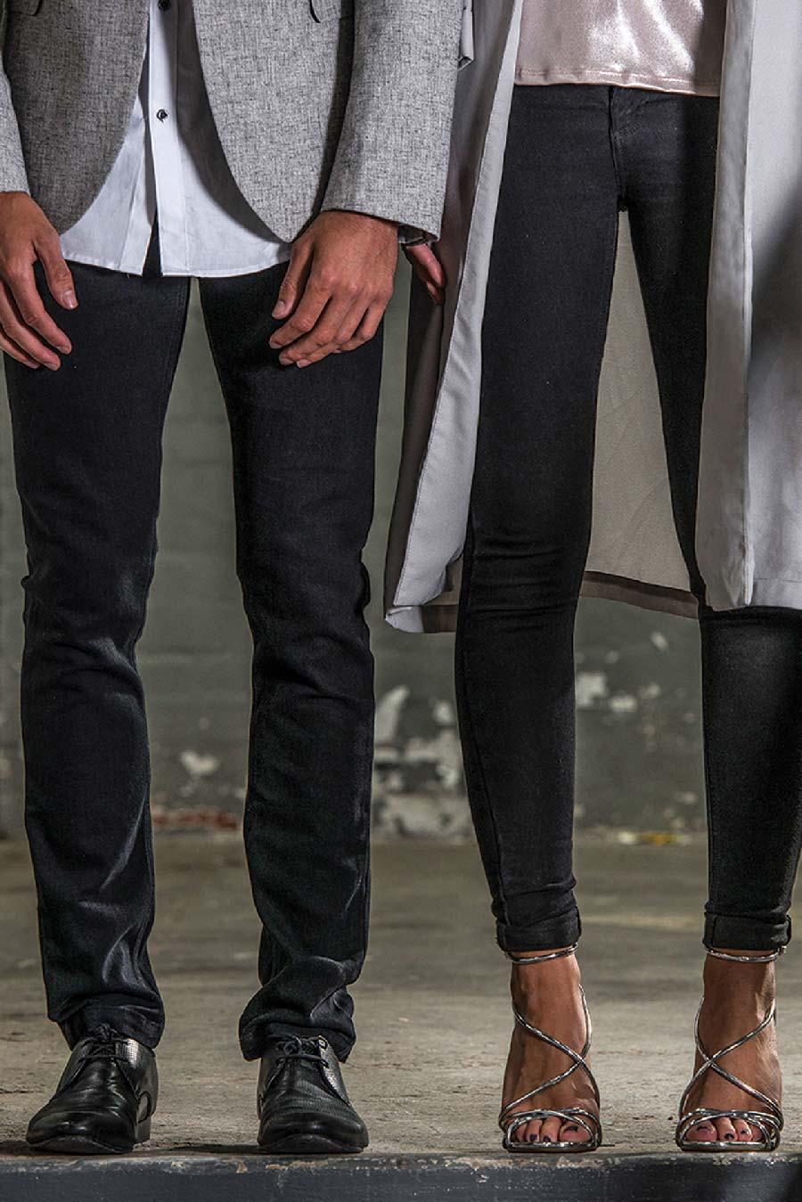 2dbb0df27a2a The new Men's Max Slim Jeans and the Ladies Lara Skinny Jeans in black denim