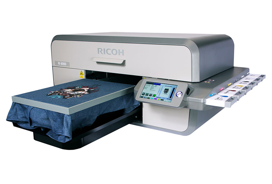 529096af9 The top of the range Ricoh Ri 6000 DTG printer offers industrial  production-level capabilities
